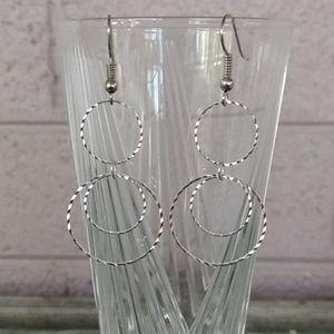 Diamond Cut Silver Tone Circle Wire Hook Earrings
